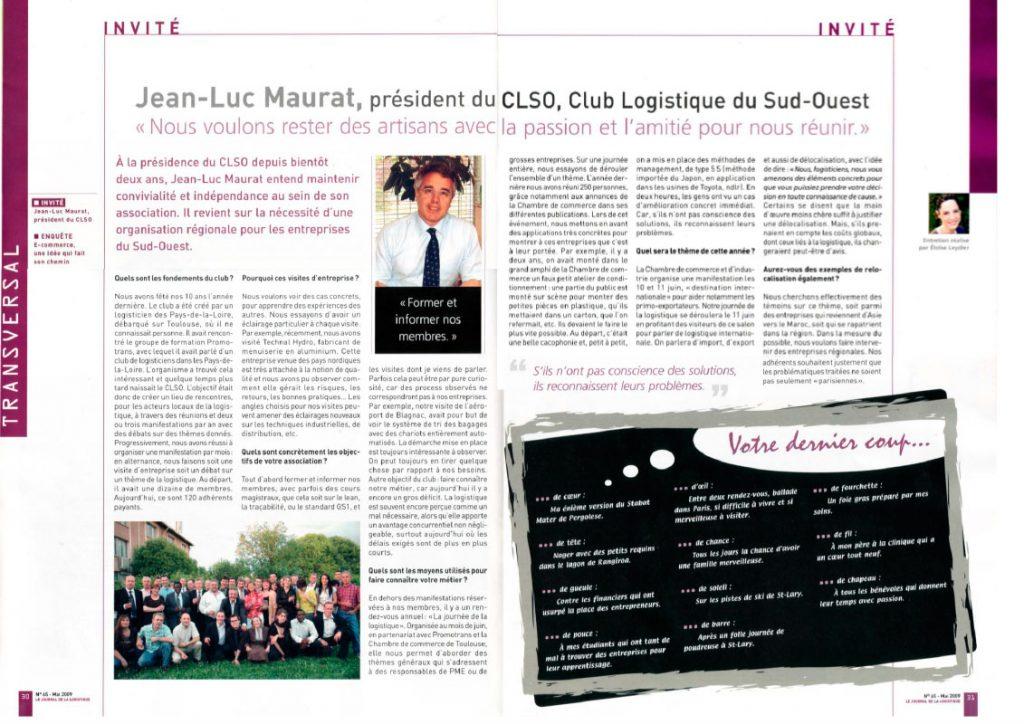 Invité Club Logistique du Sud Journal Mai 2009-1- Opus 31 - Consultant Logistique