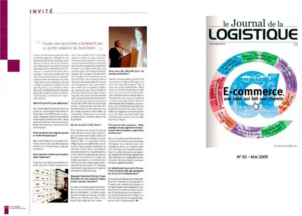 Invité Club Logistique du Sud Journal Mai 2009-2- Opus 31 - Consultant Logistique