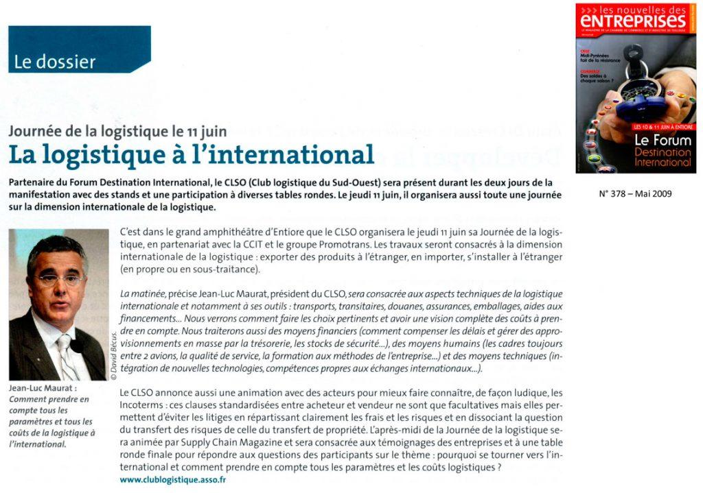 Publication Nouvelles Des Entreprises Logistique à l'international - Mai 2009 - Opus 31 - Consultant Logistique